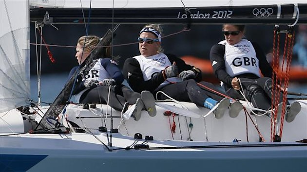 Britain's Annie Lush, Kate Macgregor and Lucy Macgregor sail in the Elliott 6m at the London 2012 Olympic Games in Weymouth and Portland