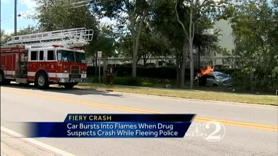 Suspects in drug operation flee, crash into pole