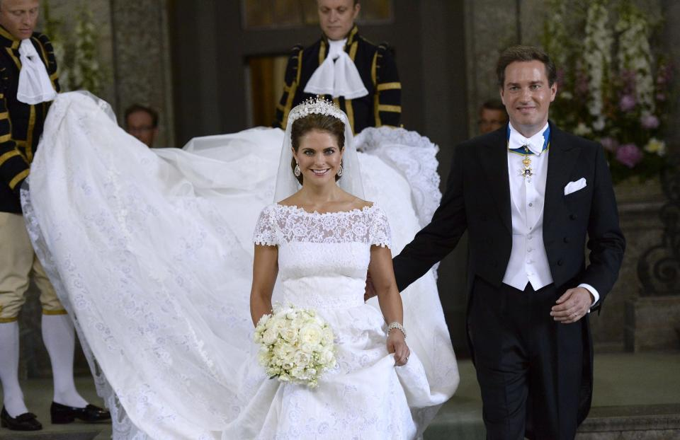 Sweden's Princess Madeleine and Christopher O'Neill leave the Royal Chapel after their wedding ceremony in Stockholm, Saturday June 8, 2013. (AP Photo/Leif R Jansson) SWEDEN OUT