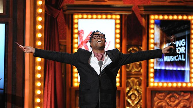 "FILE - This June 9, 2013 file photo shows Billy Porter accepting his award for best actor in a musical for ""Kinky Boots"" at the 67th Annual Tony Awards, in New York. Six alumni from Carnegie Mellon University took home Tonys in five categories, a glittery haul that was both a school record and a huge source of pride for a theater department that turns 100 next year. Billy Porter, Patina Miller and Judith Light each took home acting Tonys, while Ann Roth got one for best costume design, and partners Jules Fisher and Peggy Eisenhauer won for best lighting design of a play. (Photo by Evan Agostini/Invision/AP, file)"