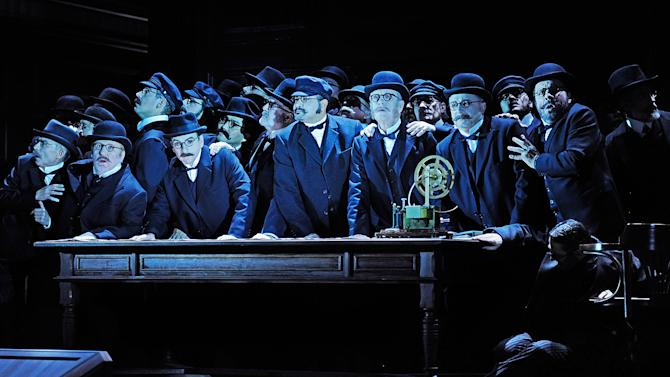 """In this undated photo provided by the Opernhaus Zurich the choir performs on stage during a dress rehearsal for Richard Wagner's opera """"Der fliegende Hollaender"""" (The Flying Dutchman) at the opera in Zurich, Switzerland. (AP Photo/Opernhaus Zurich/T+T Fotografie/Toni Suter + Tanja Dorendorf)"""