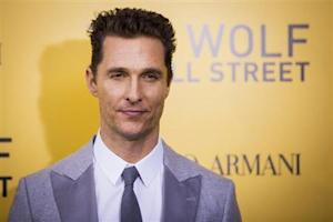 "Cast member McConaughey arrives for premiere of the film adaptation of ""The Wolf of Wall Street"" in New York"