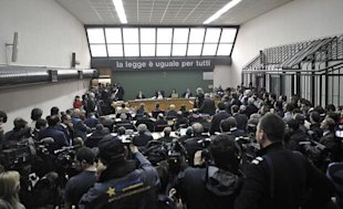 A view of the court room inside the Naples court palace is seen on April 13, 2010 where former Juventus Football Club general manager Luciano Moggi is set to face a court case over his alleged involvement in a 2006 corruption scandal.