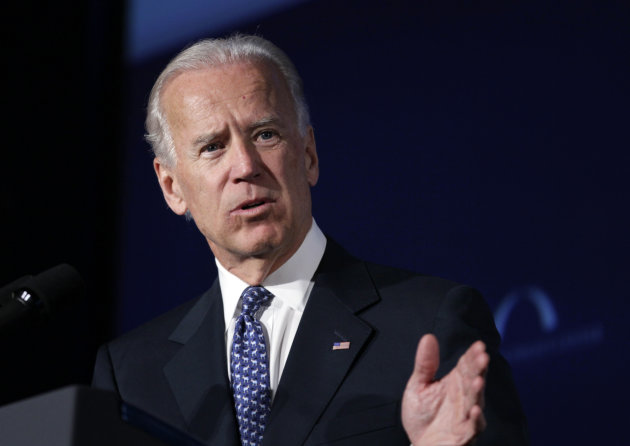 "FILE - In this March 21, 2012 file photo, Vice President Joe Biden speaks at Mellon Auditorium in Washington. Biden on Sunday, May 6, 2012 said he's ""absolutely comfortable"" with gay couples who marry getting the same civil rights and liberties as heterosexual couples, a stand that gay rights advocates interpreted as an endorsement of same-sex marriage. (AP Photo/Carolyn Kaster, File)"