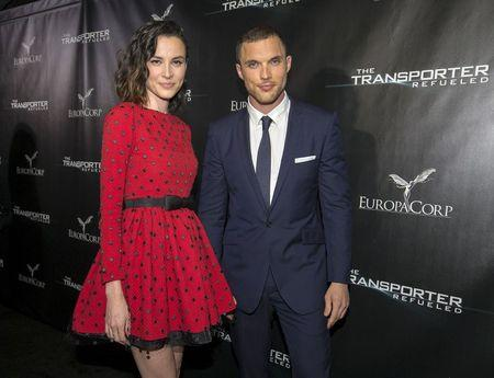 "Cast members Skrein and Chabanol pose at the premiere of ""The Transporter Refueled"" at Playboy Mansion in Los Angeles"