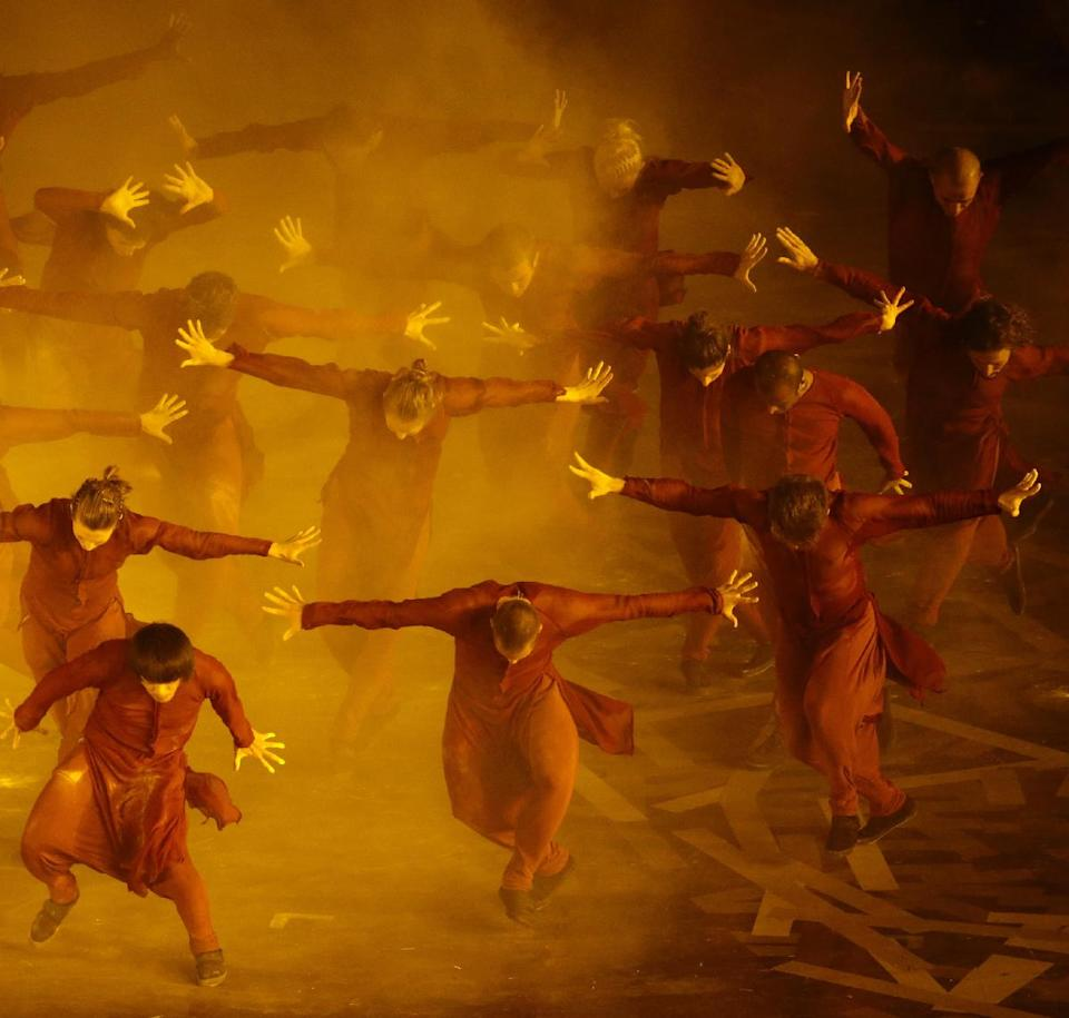 Artists perform during the Opening Ceremony at the 2012 Summer Olympics, Friday, July 27, 2012, in London. (AP Photo/Ivan Sekretarev)
