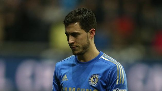 Eden Hazard leaves the pitch after being sent off against Swansea