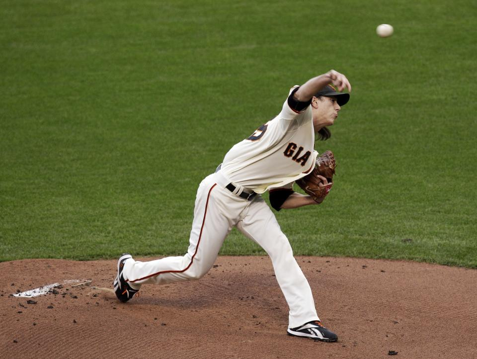San Francisco Giants' Tim Lincecum throws during the first inning of Game 1 of baseball's World Series against the Texas Rangers Wednesday, Oct. 27, 2010, in San Francisco. (AP Photo/Jeff Chiu)