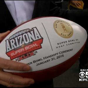 The Golden Football Is Handed Off To The Bay Area For Super Bowl 50