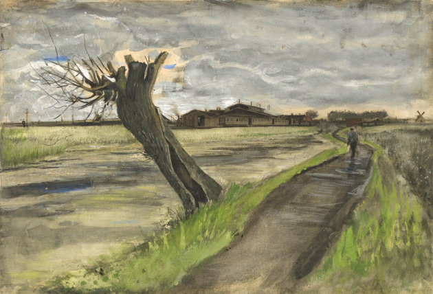 This photo released by the Van Gogh Museum in Amsterdam, Netherlands, on Thursday, May 10, 2012, shows an 1882 water color of a pollard willow by Vincent van Gogh from his early Dutch period. The Van