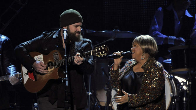 "Zac Brown, left, and Mavis Staples perform ""My City of Ruins"" on stage at the MusiCares Person of the Year tribute honoring Bruce Springsteen at the Los Angeles Convention Center on Friday Feb. 8, 2013, in Los Angeles. (Photo by Chris Pizzello/Invision/AP)"