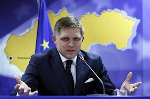 Slovakia's Prime Minister Fico speaks at a news conference at the end of a European leaders emergency summit on Ukraine in Brussels
