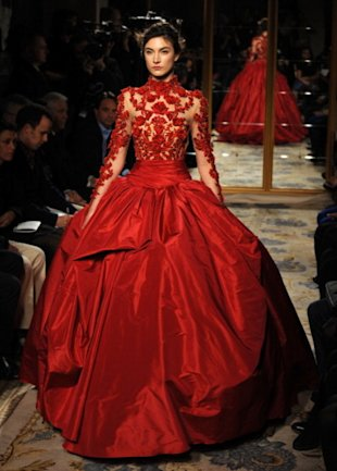 This red embellished gown made our hearts race.