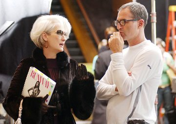 Meryl Streep and director David Frankel on the set of 20th Century Fox's The Devil Wears Prada