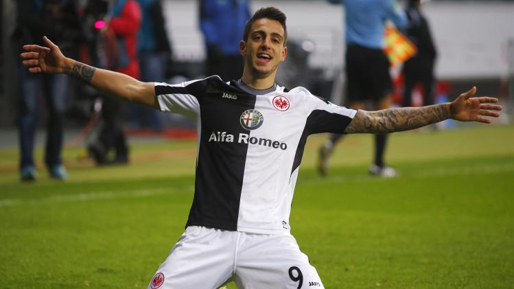 Eintracht Frankfurt's Joselu celebrates after scoring his third goal against second division club SV Sandhausen during their German soccer cup ( DFB Pokal) round of 16 soccer match in Frankfurt