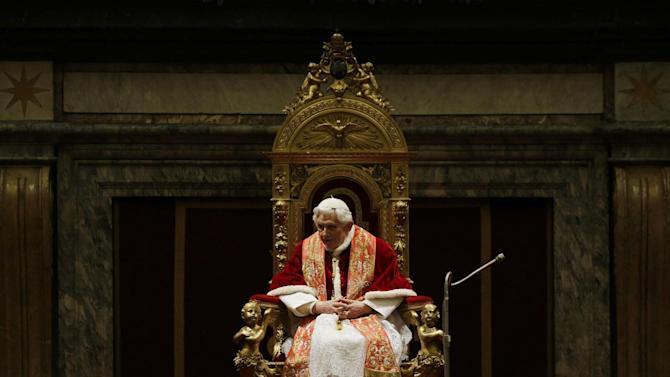 Pope Benedict XVI delivers his message on the occasion of the exchange of Christmas greetings with the Roman curia, in the Clementine hall at Vatican, Friday, Dec. 21, 2012. (AP Photo/Alessandra Tarantino, pool)