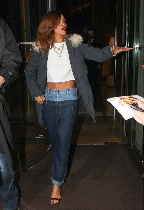 Rihanna pictured leaving her hotel in London, UK