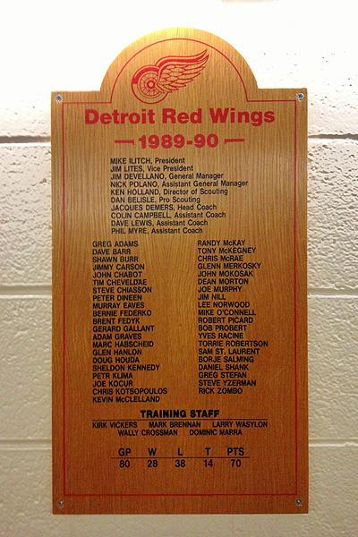 Detroit Red Wings 1989-90 team plaque