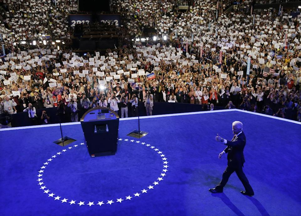 Former President Bill Clinton arrives to speak to delegates at the Democratic National Convention in Charlotte, N.C., on Wednesday, Sept. 5, 2012. (AP Photo/Charlie Neibergall)
