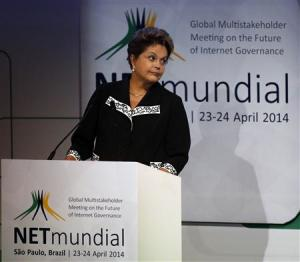 Brazil's President Rousseff attends the opening ceremony for the NETmundial: Global Multistakeholder Meeting on the Future of Internet Governance conference in Sao Paulo