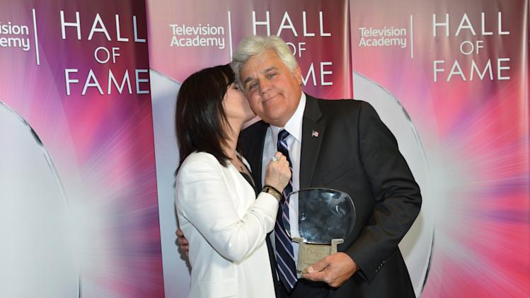 IMAGE DISTRIBUTED FOR THE TELEVISION ACADEMY - EXCLUSIVE - Mavis Leno, left, and Hall of Fame Inductee Jay Leno pose backstage at the 2014 Television Academy Hall of Fame on Tuesday, March 11, 2014, at the Beverly Wilshire in Beverly Hills, Calif. (Photo by John Shearer/Invision for the Television Academy/AP Images)