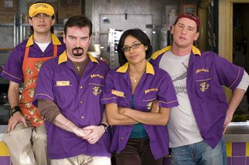 Trevor Fehrman , Brian Christopher O'Halloran , Rosario Dawson and Jeff Anderson in The Weinstein Company's Clerks II