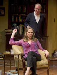 This theater image released by Jeffrey Richards Associates shows Amy Morton and Tracy Letts in a scene from &quot;Who&#39;s Afraid of Virginia Woolf.&quot; (AP Photo/Jeffrey Richards Associates, Michael Brosilow)