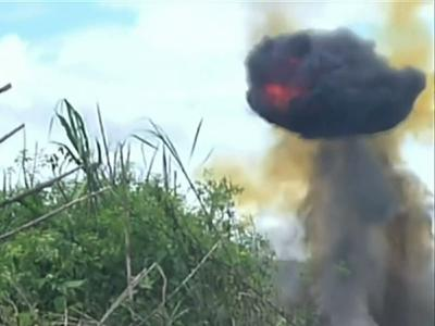 Raw: Peru Blows Up Drug Smuggling Airstrips
