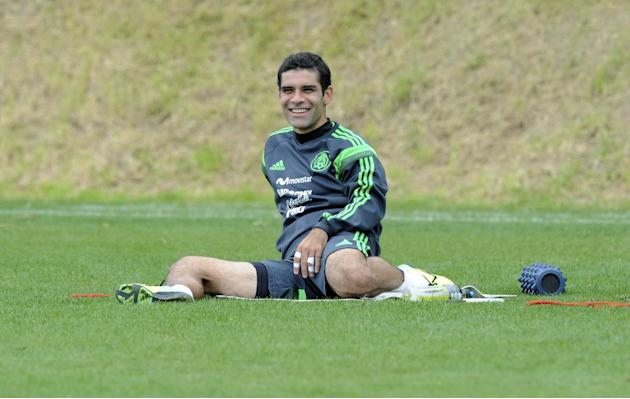 Mexico's captain Rafa Marquez smiles while training with his teammates in preparation for their upcoming World Cup qualifying soccer match against New Zealand, at Dave Farrington Park, in Wellington,