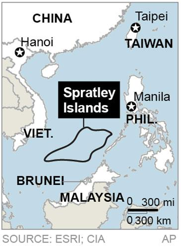 Map locates the Spratly Islands where there is a territorial dispute between China, Taiwan, Vietnam, Malaysia, Brunei and the Philippines