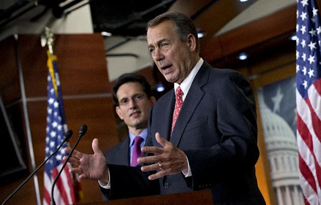 FILE - In this Dec. 21, 2012 photo, Speaker of the House John Boehner, R-Ohio, joined by House Majority Leader Eric Cantor, R-Va., speaks to reporters about the fiscal cliff negotiations at the Capitol in Washington. Celebration doesn't seem to be high on the agenda as House Republicans, their majority renewed by the voters last fall, lay the groundwork for another challenge to President Barack Obama over federal spending. (AP Photo/J. Scott Applewhite, File)