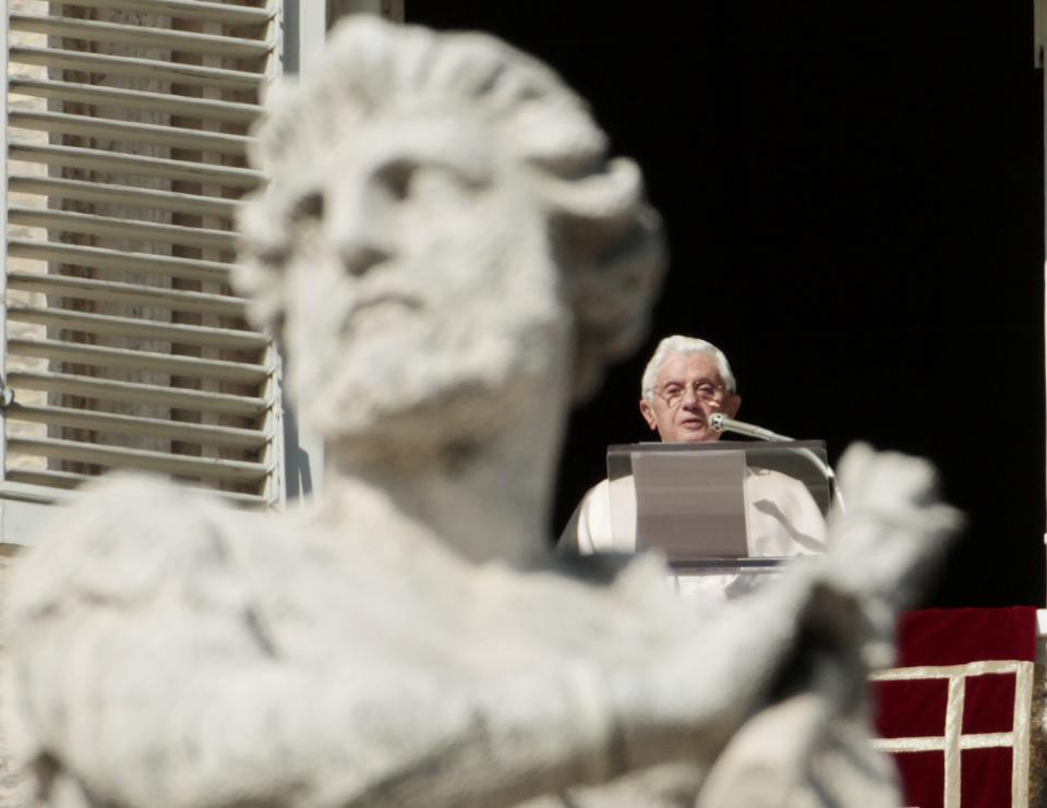 Pope Benedict XVI delivers his message from his studio's window overlooking St. Peter's square during the Angelus prayer at the Vatican, Sunday, Nov. 13, 2011. (AP Photo/Gregorio Borgia)