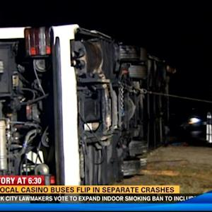 2 local casino buses flip over in separate crashes