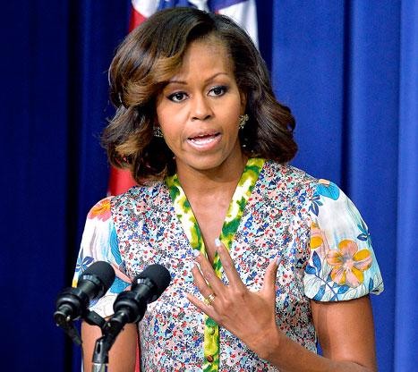 Michelle Obama Shows Off Red and Blonde Highlights