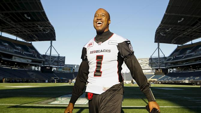 Redblacks quarterback Burris leaves the field after their team's walkthrough practice ahead of the CFL 103rd Grey Cup championship football game in Winnipeg