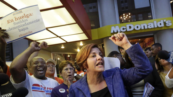 New York City Council Speaker and mayoral candidate Christine Quinn speaks at a fast food workers' protest outside a McDonald's restaurant on New York's Fifth Avenue, Thursday, Aug. 29, 2013. Organizers say thousands of fast-food workers are set to stage walkouts in dozens of cities around the country Thursday, part of a push to get chains such as McDonald's, Taco Bell and Wendy's to pay workers higher wages. (AP Photo/Richard Drew)