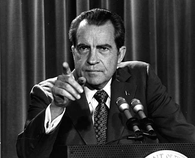 FILE - In this March 15, 1973, file photo President Nixon tells a White House news conference that he will not allow his legal counsel, John Dean, to testify on Capitol Hill in the Watergate investiga