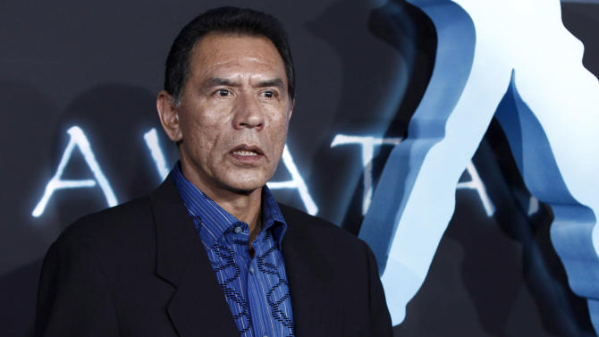 """File-This Dec. 16,2009 file photo of Wes Studi arrives at the premiere of """"Avatar"""" in Los Angeles. Studi is set to become the second Native American inducted into the National Cowboy & Western Heritage Museum's Hall of Great Western Performers in Oklahoma City.(AP Photo/Matt Sayles,File)"""