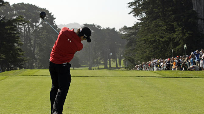 Rory McIlroy, of Northern Ireland, hits a drive on the ninth hole during a practice round for the U.S. Open Championship golf tournament Tuesday, June 12, 2012, at The Olympic Club in San Francisco. (AP Photo/Charlie Riedel)