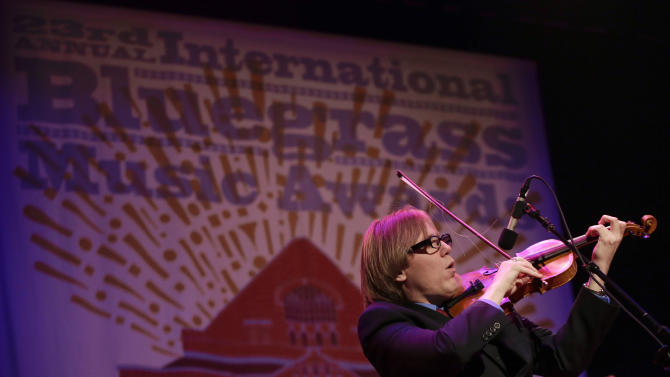 Nicky Sanders of the Steep Canyon Rangers performs at the International Bluegrass Music Association Awards show on Thursday, Sept. 27, 2012, in Nashville, Tenn. (AP Photo/Mark Humphrey)