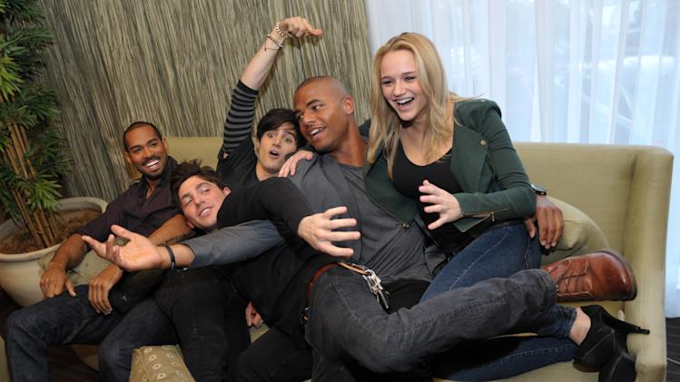 "From left, Lamon Archey, Robert Adamson, Max Ehrich, Redaric Williams and Hunter King, cast members in ""The Young and the Restless,"" are pictured together during the Hot New Faces of ""The Young and the Restless"" press junket at CBS Television City on Wednesday, Feb. 27, 2013 in Los Angeles. The CBS show, daytime's top-rated soap since December 1988, hits the big 4-0 on Tuesday, March 26, 2013.(Photo by Chris Pizzello/Invision/AP)"