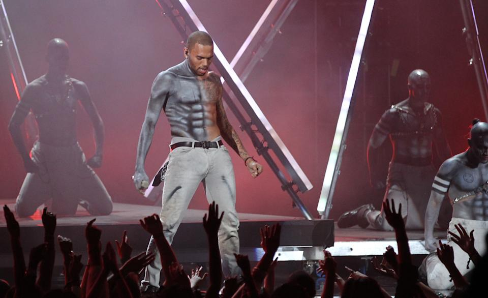 Chris Brown performs at the BET Awards on Sunday, July 1, 2012, in Los Angeles. (Photo by Matt Sayles/Invision/AP)