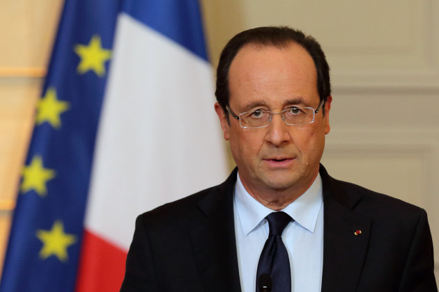 France's President Francois Hollande delivers a speech on the situation in Mali at the Elysee Palace in Paris, Friday, Jan. 11, 2013. French forces began backing Malian soldiers Friday in their fight 
