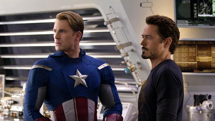 "In this film image released by Disney, Chris Evans, portraying Captain America, left, and Robert Downey Jr., portraying Tony Stark, are shown in a scene from ""Marvel's The Avengers"" (AP Photo/Disney, Zade Rosethal)"