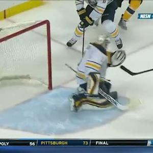 David Krejci rips shot short-side on Enroth