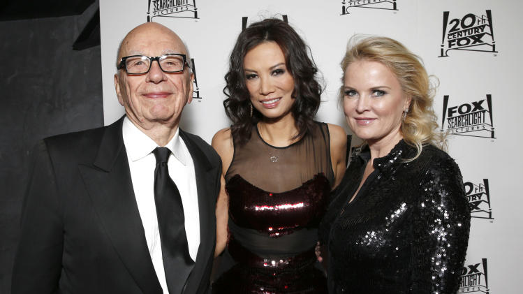 Rupert Murdoch, Wendi Deng Murdoch and Suzanne Todd attend the Twentieth Century Fox And Fox Searchlight Pictures Academy Awards Nominees Party at Lure on Sunday, February 24, 2013 in Los Angeles. (Photo by Todd Williamson/Invision for Fox Searchlight/AP)