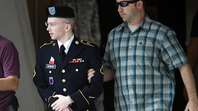 FILE - In this Friday, June 28, 2013 file photo, Army Pfc. Bradley Manning is escorted out of a courthouse in Fort Meade, Md., after another day of his court-martial, as he is charged with indirectly aiding the enemy by sending troves of classified material to WikiLeaks. Al-Qaida leaders reveled in WikiLeaks' publication of reams of classified U.S. documents, urging members to study them before devising ways to attack the United States, according to evidence presented by the prosecution Monday, July 1, 2013, in the court-martial of an Army private who leaked the material. ( AP Photo/Jose Luis Magana, File)
