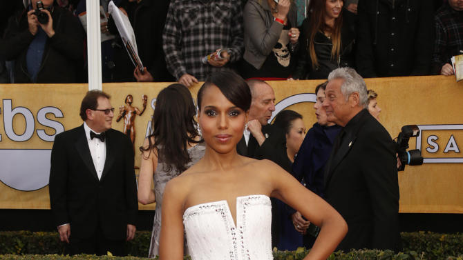 Kerry Washington arrives at the 19th Annual Screen Actors Guild Awards at the Shrine Auditorium in Los Angeles on Sunday Jan. 27, 2013. (Photo by Todd Williamson/Invision for The Hollywood Reporter/AP Images)