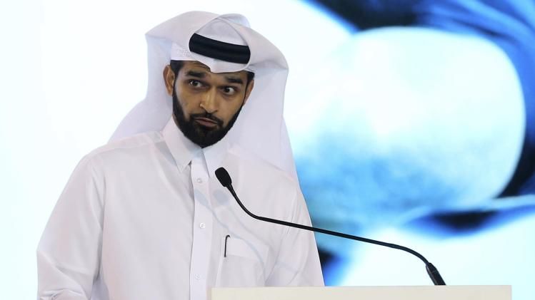 Secretary General of the Qatar 2022 Supreme Committee, Hassan Abdulla Al Thawadi, speaks at the launch of the Josoor Institute in Doha