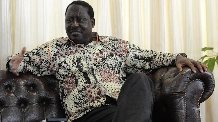 Kenyan opposition leader Raila Odinga in an interview with AFP at his office in Nairobi on July 15, 2014